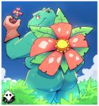 2018 anthro anthrofied barazoku belly biceps big_butt biped border butt casual_exposure clothing cloud day detailed_background digital_media_(artwork) elfein fangs flora_fauna flower garden gardening glistening glistening_butt gloves handwear hi_res holding_object ineffective_clothing light looking_at_viewer looking_back male mostly_nude musclegut muscular muscular_male nintendo outside overweight overweight_male plant pokémon pokémon_(species) pokémorph portrait pose presenting presenting_hindquarters rear_view red_eyes scalie shrub sky smile snout solo standing sunlight teeth thick_thighs three-quarter_portrait twinkle venusaur video_games white_borderRating: QuestionableScore: 31User: DeadEndFriendDate: November 26, 2018