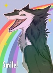 2011 anthro blue_eyes english_text looking_at_viewer male mammal nude open_mouth rainbow rainbow_arch sergal sidgi smile solo sparkles teeth text tongue tongue_out