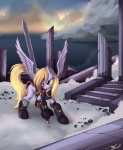 2012 armor blonde_hair cloud cutie_mark derpy_hooves_(mlp) equine female feral friendship_is_magic hair hi_res mammal melee_weapon my_little_pony outside pegasus ponykillerx ruins sky solo sword weapon wings  Rating: Safe Score: 22 User: DragonRanger Date: March 06, 2012