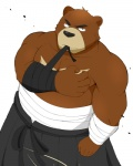 bandage bear beat_you_(artist) belt biceps big_muscles black_eyes black_nose brown_fur clothing fur juuichi looking_at_viewer male morenatsu muscles pecs plain_background pose robe solo standing topless white_background   Rating: Safe  Score: 6  User: BlackBoltEX  Date: July 15, 2013