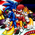 anal anal_penetration anus balls blonde_hair blue_eyes blue_fur blush canine clothing double_anal double_penetration echidna footwear fox fur green_eyes hair happyanthro hedgehog knuckles_the_echidna mammal miles_prower monotreme penetration penis precum purple_eyes red_fur shoes sonic_(series) sonic_the_hedgehog tan_fur video_games white_fur yellow_fur
