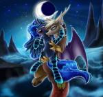 2015 absurd_res bite blood blue_eyes clothing cloud discord_(mlp) draconequus duo equine fangs feathered_wings feathers female friendship_is_magic hi_res horn legwear lyra-senpai male mammal membranous_wings moon my_little_pony night princess_luna_(mlp) sharp_teeth socks star teeth winged_unicorn wings  Rating: Safe Score: 7 User: 2DUK Date: May 19, 2015""