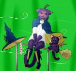 2014 anthro blush broom cat clothing cosplay crossdressing duo feline greenscreen htodinth male mammal morenatsu no_underwear panties shin_(morenatsu) underwear  Rating: Questionable Score: 4 User: HTOdinTH Date: October 31, 2014