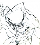 anthro black_and_white claws dorsal_fin drooling fangs fin fish gills grin hi_res jjorona looking_at_viewer male marine monochrome muscular nude saliva shark sketch smile solo standing