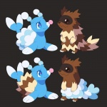 blue_body brionne brown_fur cute duo feral fur mammal marine nintendo pinniped pokémon simple_background smile video_games zhampip zigzagoon