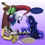 2013 antlers blue_eyes blue_hair chess crown cutie_mark dialogue discord_(mlp) draconequus duo english_text equine female feral friendship_is_magic frown fur gaming hair horn horse inuhoshi-to-darkpen long_hair male mammal my_little_pony open_mouth pony princess princess_luna_(mlp) red_eyes royalty sitting smile spread_legs spreading table teeth text tongue upside_down winged_unicorn wings   Rating: Safe  Score: 19  User: Deatron  Date: June 28, 2013