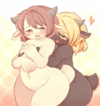 <3 akitaka amber_eyes blonde_hair blush caprine couple duo female female/female goat hair horn mammal nude overweight sweat voluptuous yellow_eyes   Rating: Questionable  Score: 6  User: queue  Date: May 09, 2011