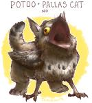 ambiguous_gender avian beak bird cat derp_eyes english_text feathered_wings feathers feline feral gryphon hybrid iguanamouth mammal nope open_mouth pallas's_cat potoo quadruped signature solo text what wide_eyed wings yellow_eyes