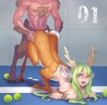all_fours anthro antlers blue_eyes blush breast_squish breasts butt butt_grab celebrated_earl cervine chest_tuft cleavage clothed clothing deer doggystyle duo female from_behind fur green_hair hair hand_on_butt horn male male/female mammal one_eye_closed penetration sex taur tuft  Rating: Explicit Score: 20 User: Pasiphaë Date: November 25, 2015