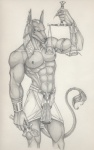 abs ankh anthro anubian_jackal anubis anyae biceps canine clothing deity egyptian fur gauntlet jackal jewelry male mammal monochrome muscles navel nipple_piercing nipples pecs piercing pose scale solo standing toned topless traditional_media   Rating: Questionable  Score: 2  User: Munkelzahn  Date: July 24, 2013