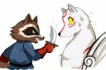 amaterasu ambiguous_gender angry anthro brown_eyes canine crossover deity knife male mammal marvel raccoon rocket_raccoon sssonic2 surprise teeth threatening video_games wolf yellow_eyes Ōkami   Rating: Questionable  Score: 9  User: Robinebra  Date: September 30, 2012
