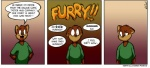 2014 brown_hair clothing colored comic embarrassed english_text hair happy looking_at_viewer male mammal peterandcompany simple_background solo text  Rating: Safe Score: 16 User: Panzar Date: November 29, 2015