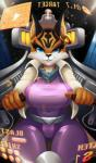 2018 anthro arwing big_breasts black_nose blue_eyes bodysuit breasts clothed clothing cockpit digital_media_(artwork) don_ko ear_piercing eyelashes feline female fully_clothed hi_res looking_at_viewer lynx mammal miyu_lynx nintendo piercing skinsuit smile smirk solo star_fox thick_thighs tight_clothing video_gamesRating: SafeScore: 21User: ultragamer89Date: January 31, 2018