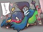 anal anal_penetration avian bakudanarare bird blush chatot chatot_(pmd) cum cum_in_ass cum_inside duo guildmaster_wigglytuff_(pmd) japanese_text male male/male nintendo parrot penetration penis pokémon pokémon_(species) pokémon_mystery_dungeon simple_background sweat text video_games wigglytuff