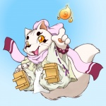 ambiguous_gender anthro canine clothing cute demon enorapi fire fluffy fluffy_tail footwear fox fur gingitsune haru_(gingitsune) jumping looking_at_viewer mammal midair robes sandals solo white_fur yellow_eyes