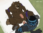 2011 4_toes anal anal_penetration anthro anus balls bed biceps big_muscles big_penis black_fur black_nose blue_eyes blue_hair bottomless brown_fur butt canine chubby claws clothed clothing cum cum_in_ass cum_inside cum_on_butt cum_on_penis danneh duo erection eyes_closed fangs fishnet fur glans grey_fur grin hair half-dressed hat heterochromia hindpaw humanoid_penis inside leg_grab legs_up lukoi_(character) lying male male/male mammal markings mattress muscles nipples nude on_back on_bed open_mouth orgasm overweight pawpads paws pecs penetration penis plantigrade sex shirt soles spread_legs spreading standing table_lotus_position tank_top teeth thick_penis toe_claws toes tongue tongue_out vein were werewolf wfa wolf   Rating: Explicit  Score: 14  User: BlackBoltEX  Date: April 30, 2013