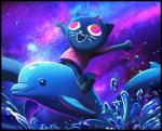 anthro cat cetacean dolphin feline fluffyslipper group hi_res mae_(nitw) mammal marine night_in_the_woods space waterRating: SafeScore: 35User: slyroonDate: March 27, 2017