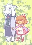 asriel_dreemurr blush boss_monster brown_hair caprine clothing crossdressing duo footwear frisk fur girly hair holding horn human kumiko19 male mammal shoes skirt smile undertale video_games white_fur  Rating: Safe Score: 5 User: Burgerpants Date: November 29, 2015
