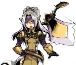 aegislash ambiguous_gender armor breasts duo female ghost gijinka hair human japanese_text kusanagikaworu long_hair looking_at_viewer mammal melee_weapon nintendo open_mouth pokémon purple_eyes shield simple_background small_breasts spirit standing sword teeth text translation_request video_games weapon white_hair  Rating: Safe Score: 2 User: DeltaFlame Date: March 17, 2015