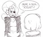 ambiguous_gender black_and_white blush clothing duo english_text eye_patch eyewear female fish hair human jacket knuckletraincomics mammal marine monochrome monster open_mouth protagonist_(undertale) sharp_teeth speech_bubble sweat teeth text undertale undyne  Rating: Safe Score: 0 User: ROTHY Date: October 05, 2015
