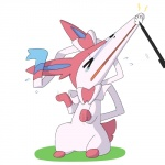 2015 ambiguous_gender canine crying cute dlrowdog eeveelution feral fur humor mammal multicolored_fur nintendo pink_fur pokémon simple_background solo stretching stylus sylveon tears tongue video_games what white_fur  Rating: Safe Score: -2 User: Big_W Date: November 29, 2015
