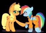 2015 applejack_(mlp) blonde_hair blush chain duo equine female freckles friendship_is_magic green_eyes hair horse mammal my_little_pony overalls pegasus pon3splash pony prison_overalls prison_uniform purple_eyes rainbow_dash_(mlp) shackles wings  Rating: Safe Score: 4 User: 2DUK Date: August 21, 2015