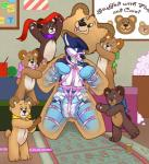 anthro bdsm blue_fur bondage bound canine detailed_background diaper dog fur harness hi_res husky looking_at_viewer male mammal solo teddy_bear toyification wenRating: SafeScore: 4User: Wumbl3Date: February 15, 2017