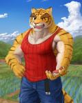 anthro belt biceps big_muscles claws clothing feline gomibako hand_on_hip looking_at_viewer male mammal markings morenatsu muscles nipples one_eye_closed open_mouth pants pecs shirt standing stripes tank_top teeth tiger tight_clothing torahiko_ooshima wink   Rating: Safe  Score: 2  User: rix_traier  Date: November 14, 2013