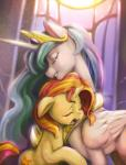 2015 absurd_res crown crying cutie_mark duo equestria_girls equine eyes_closed feathered_wings feathers female feral friendship_is_magic fur hair hi_res horn hug inside jewelry mammal mrs1989 multicolored_hair my_little_pony necklace open_mouth princess_celestia_(mlp) sunset_shimmer_(eg) tears two_tone_hair unicorn white_feathers white_fur window winged_unicorn wings yellow_fur  Rating: Safe Score: 11 User: ConsciousDonkey Date: January 31, 2016