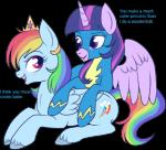 cutie_mark dialogue duo english_text equine female friendship_is_magic horn lulubell mammal my_little_pony pegasus rainbow_dash_(mlp) suit text twilight_sparkle_(mlp) winged_unicorn wings wonderbolts_(mlp)   Rating: Safe  Score: 17  User: darknessRising  Date: January 05, 2014