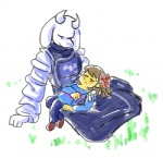 ambiguous_gender animal_ears caprine cub eyes_closed female goat grass horn paws protagonist_(undertale) resting ribbons toriel undertale young   Rating: Safe  Score: 4  User: Vaporeon  Date: August 17, 2013