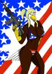 2018 4th_of_july absurd_res anthro avian bald_eagle bikini bird breasts clothed clothing digital_media_(artwork) eagle f-15 female fur gun hi_res looking_at_viewer ranged_weapon solo stars_and_stripes swimsuit tysavarin united_states_of_america weapon