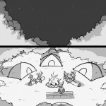 1:1 antlers bovid camping caprine cervid comic domestic_sheep female fire forest greyscale group horn lagomorph leporid log male mammal marshmallow monochrome night outside rabbit sheep sitting slypon smile tent tree wood
