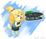 animal_crossing anthro blush canine clipboard dog english_text eyes_closed female isabelle_(animal_crossing) mammal mywerld nintendo shih_tzu solo text video_games  Rating: Safe Score: 10 User: Juni221 Date: October 19, 2014