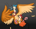 ambiguous_gender avian beak bird feathered_wings feathers feral grey_background male mammal minun mouse nintendo penetration penis pidgeot plusle pokémon rodent sex simple_background tail_feathers unknown_artist video_games wings