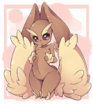 black_sclera breasts brown_fur cute female fur kneeling lagomorph lopunny mammal navel nintendo open_mouth pokémon rabbit red_eyes solo tan_fur video_games youki  Rating: Safe Score: 5 User: DeltaFlame Date: October 10, 2015