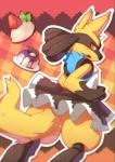 ambiguous_gender anthro black_fur blue_fur blush butt cake canine clothing dessert food fur horn jackal looking_at_viewer lucario maid_uniform mammal nintendo nongqiling open_mouth orange_eyes pokémon shiny_pokémon skirt solo spike video_games yellow_fur   Rating: Questionable  Score: 14  User: Winged-Lucario  Date: May 20, 2015