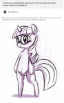 af-js anthro ask_blog english_text equine eyewear female feral friendship_is_magic glasses horn horse mammal monochrome my_little_pony pony pussy semi-anthro simple_background sketch smile solo teats text twilight_sparkle_(mlp) unicorn  Rating: Explicit Score: 2 User: cowboy_brony Date: January 31, 2016