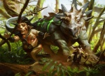 """anthro chain chubby dinosaur feral fleeing forest glowing group hooves horn landscape leather long_tail magic_the_gathering male mike_bierek minotaur monster nature nipple_piercing nipples official_art open_mouth outside piercing quadruped running satyr sharp_teeth spikes tattoo teeth tree vegetation  Rating: Questionable Score: 0 User: Circeus Date: January 27, 2015"""""""