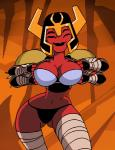 2015 alien animated armor ben_10 big_breasts bra breasts clothing dboy female flashing looma_red_wind not_furry panties red_skin smile solo tetramand underwear  Rating: Questionable Score: 12 User: WhiteWhiskey Date: October 02, 2015