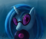 2012 blue_theme digital_media_(artwork) disc equine eyewear female friendship_is_magic glasses hair horn horse looking_at_viewer mammal multicolored_hair my_little_pony pony raikoh-illust record simple_background solo sunglasses two_tone_hair unicorn vinyl_scratch_(mlp)