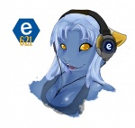 2010 alyxx amber_eyes blue_body blue_hair breasts cleavage clothed clothing e621 female hair headphones lipstick looking_at_viewer mascot_contest open_mouth portrait simple_background smile solo teeth white_background  Rating: Safe Score: 7 User: Jazz Date: February 02, 2010