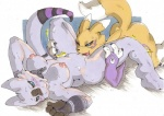 anthro blue_eyes blush breasts canine cunnilingus daigaijin digimon dragon duo female female/female fox fur interspecies lying mammal nipples nude on_back oral pussy renamon scalie sex simple_background sweat vaginal white_background white_fur yellow_fur  Rating: Explicit Score: 41 User: RioluKid Date: November 21, 2013
