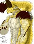 2015 anthro black_sclera capcom claws dragon elder_dragon english_text horn ignitedstar looking_at_viewer male monster_hunter muscles nude plain_background red_eyes scalie shagaru_magala slit_pupils solo text video_games white_background white_scales yellow_scales  Rating: Safe Score: 1 User: GameManiac Date: July 06, 2015""