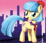2014 blue_eyes city coco_pommel_(mlp) cutie_mark equine female feral flower friendship_is_magic hair horse mammal multi-colored_hair my_little_pony necktie pony portrait solo standing stars the-butch-x   Rating: Safe  Score: 7  User: 2DUK  Date: March 13, 2014