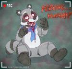3_toes 4_fingers animatronic anthro blood cobaltsynapse digital_media_(artwork) english_text five_nights_at_freddy's fur grey_fur hi_res looking_at_viewer machine male mammal open_mouth paws procyonid raccoon red_eyes robot simple_background smile solo text toes video_gamesRating: QuestionableScore: 6User: e621NetUserDate: October 06, 2017