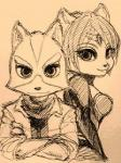 anthro b_(artist) black_nose bodysuit canine clothing duo female fox fox_mccloud hair hair_ornament jacket jewelry krystal male mammal monochrome nintendo plain_background scarf short_hair skinsuit smile star_fox video_games  Rating: Safe Score: 0 User: Cαnε751 Date: June 13, 2015""