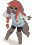 barefoot blue_eyes blush brown_fur canine clothing cute dog female fur hair havemoon kemono loli long_hair mammal open_mouth red_hair solo young  Rating: Safe Score: 3 User: Komaru Date: May 20, 2015
