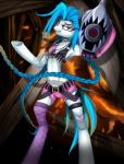 alternate_species ammunition anthro bandolier belt blue_hair braided_hair clothed clothing crossover earth_pony equine female gun hair hi_res horse jinx_(lol) league_of_legends legwear looking_at_viewer mammal my_little_pony pink_eyes ponification pony ranged_weapon riot_games santagiera solo standing stockings video_games weapon