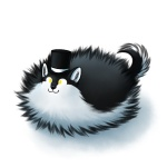 2016 :3 black_fur black_nose canine cute digital_media_(artwork) dog feral fluffy fur hat husky male mammal multicolored_fur poof ratte simple_background smile solo thehuskyk9 top_hat two_tone_fur white_background white_fur yellow_eyes